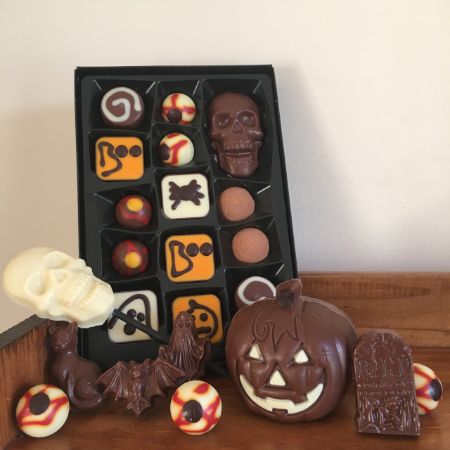 Halloween-themed chocolates from Hotel Chocolat (unwrapped)