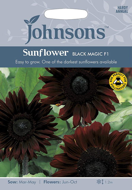 A packet of Johnsons Black Magic Sunflower seeds