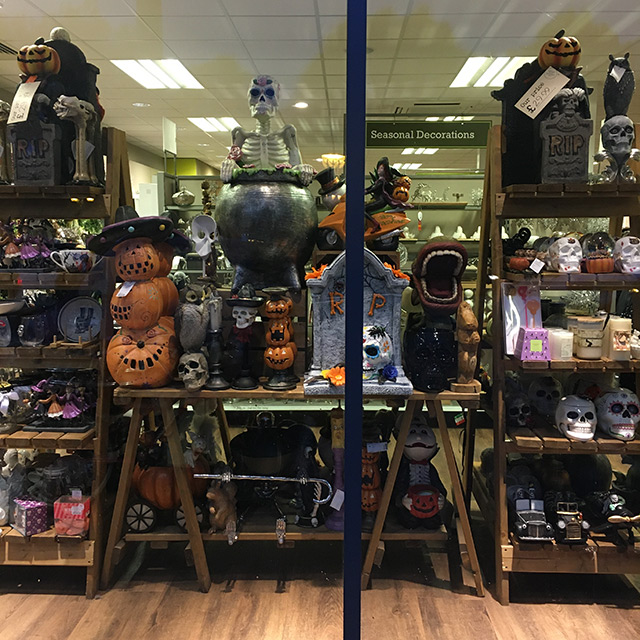 A Halloween display in a Homesense store, mid October 2019
