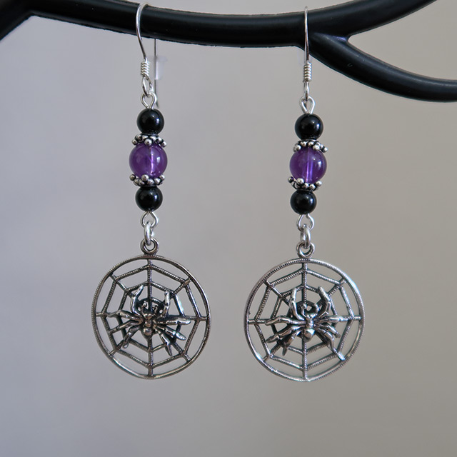 Spider Web Earrings (Black Onyx, Purple Amethyst)
