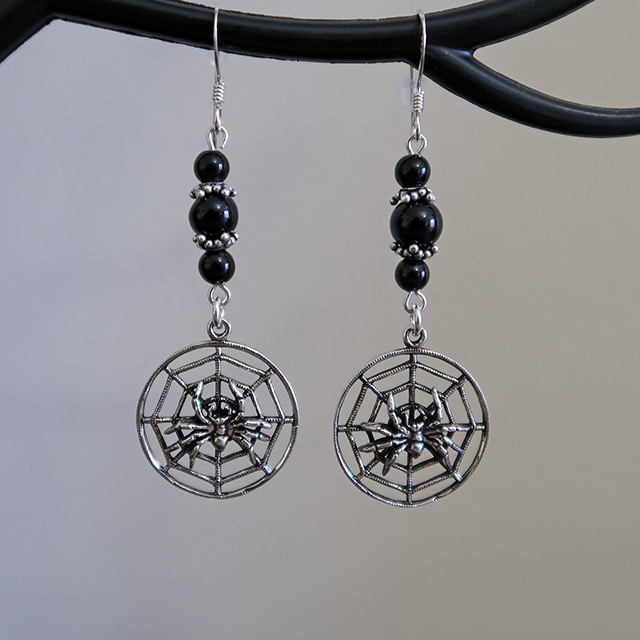 Spider Web Earrings (Black Onyx)