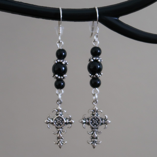 Spiked Cross Earrings (Black Onyx)
