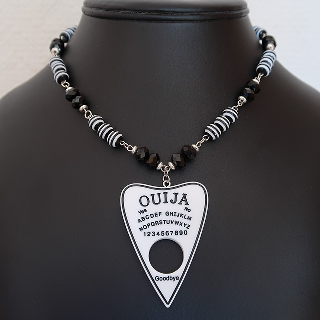 Ouija Necklace & Earrings Set (White)
