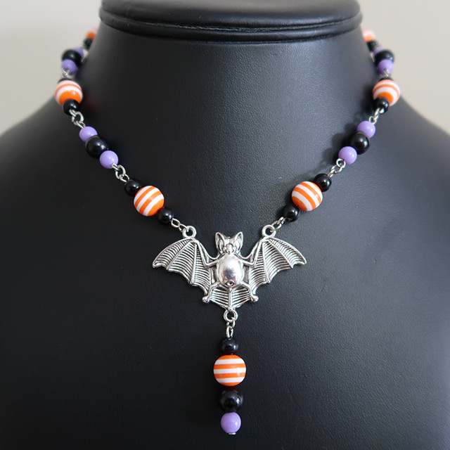 Halloween Striped Bat Necklace & Earrings Set (Orange/Purple)