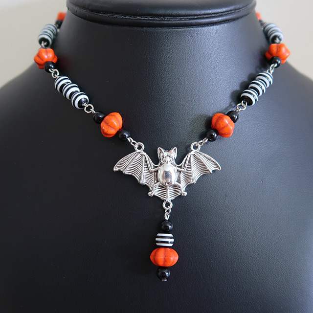 Halloween Striped Bat Necklace & Earrings Set (Pumpkin)