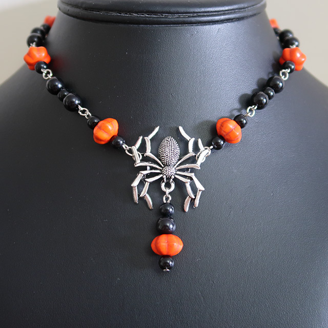 Halloween Spider Necklace & Earrings Set (Pumpkin)