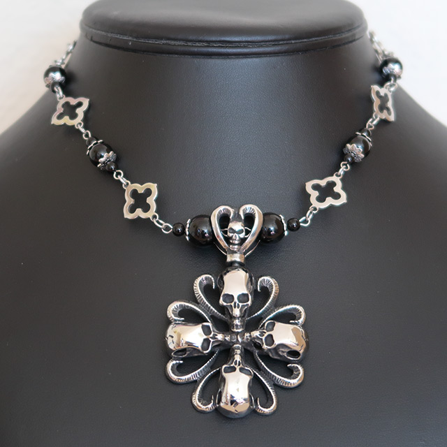 Four Skull Cross Necklace & Earrings Set (Black Onyx)