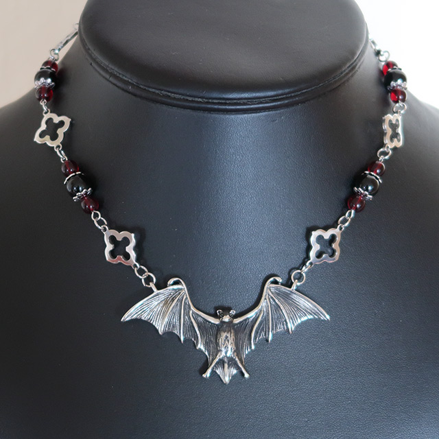 Bat Necklace & Earrings Set (Black Onyx, Red Glass)