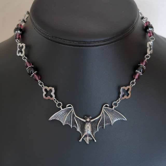 Bat Necklace & Earrings Set (Black Onyx, Purple Glass)