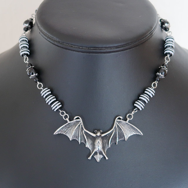 Bat Necklace & Earrings Set (Black Onyx, Striped Resin)