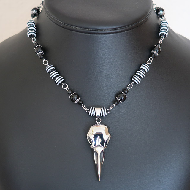 Bird/Raven Skull Necklace & Earrings Set (Black Onyx, Striped Resin)