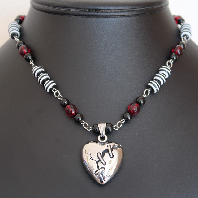 Broken Heart Necklace & Earrings Set (Black Onyx, Striped Resin, Red Glass)