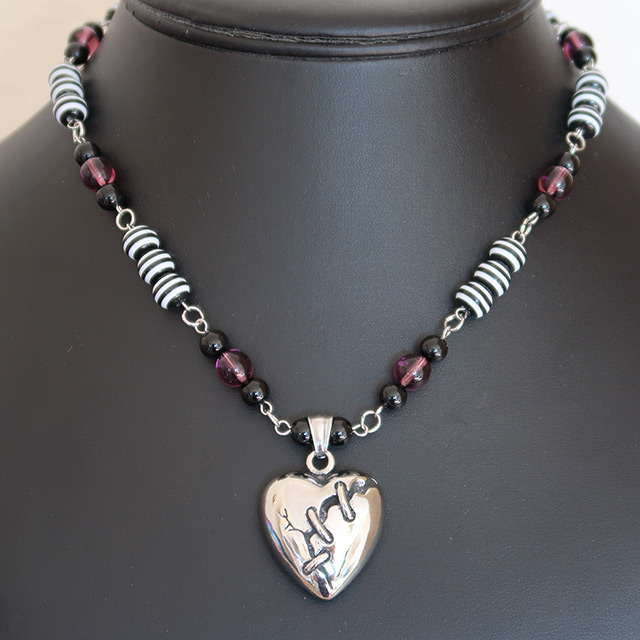 Broken Heart Necklace & Earrings Set (Black Onyx, Striped Resin, Purple Glass)