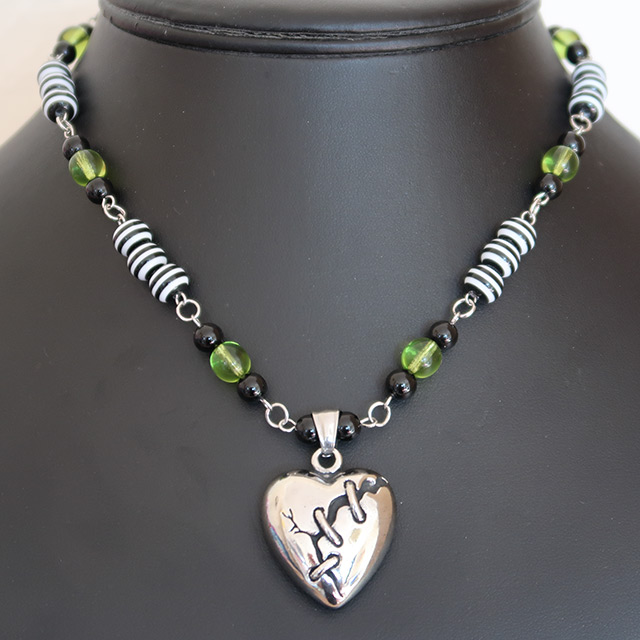 Broken Heart Necklace & Earrings Set (Black Onyx, Striped Resin, Green Glass)