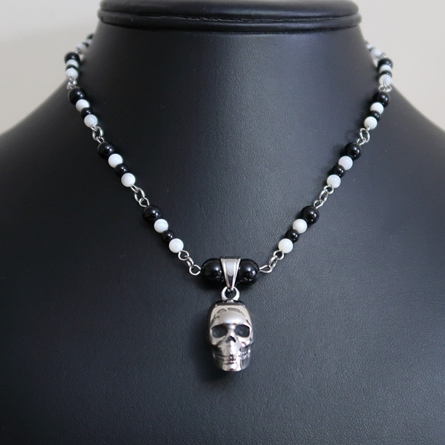 Skull Necklace & Earrings Set (Black Onyx, Mother Of Pearl)